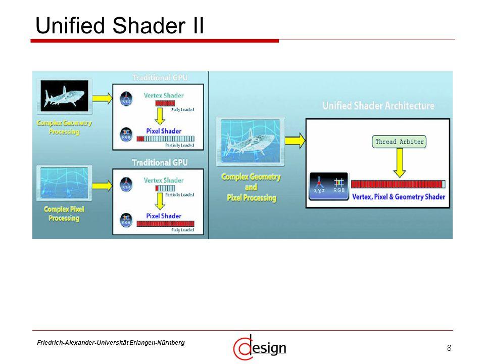 19 Friedrich-Alexander-Universität Erlangen-Nürnberg Frank Hannig Grafik-spezifische Funktionen II Texture Units an Shader-Cluster gebunden Textur-Adressierung Textur-Filterung: bilinear, trilinear, anisotrop NVIO separater Chip beim G80, später integriert enthält -RAMDAC: Bildwandler -DVI, Video-I/O -Video-Engine: Decoder, Skalierung, Filterung -SLI-Koppelung zu weiteren GPUs