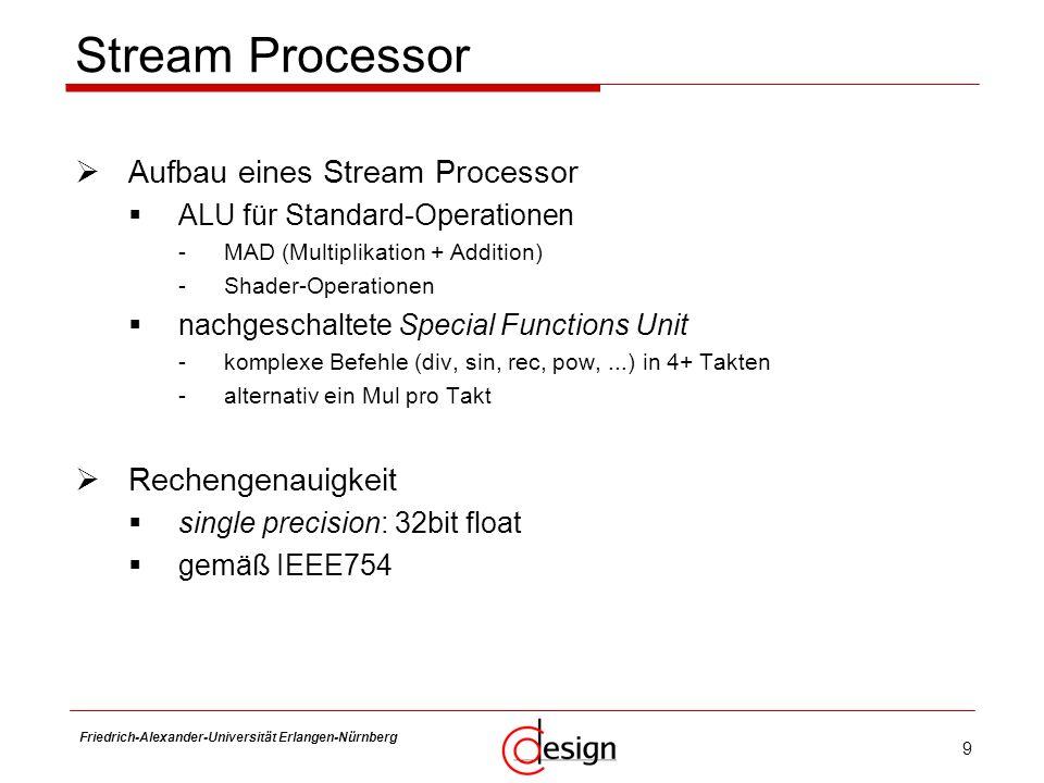 9 Friedrich-Alexander-Universität Erlangen-Nürnberg Frank Hannig Stream Processor Aufbau eines Stream Processor ALU für Standard-Operationen -MAD (Mul
