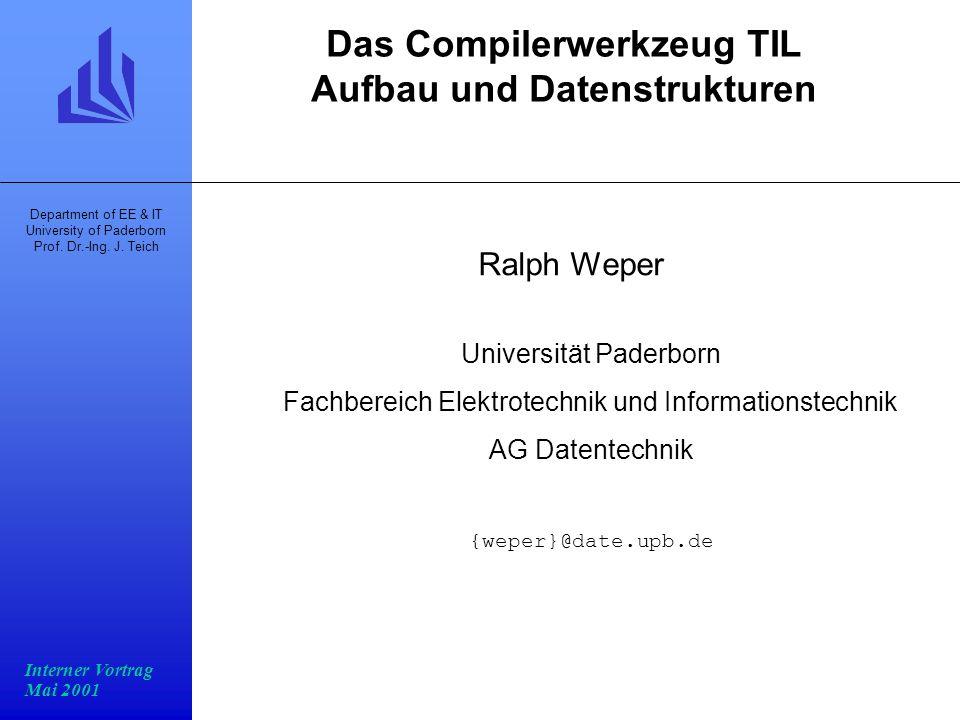 Programmstruktur FU-Zuteilung Scheduling Register- zuteilung VLIW-Code C-Code Analyse TIL-Code Masch.unabhg.