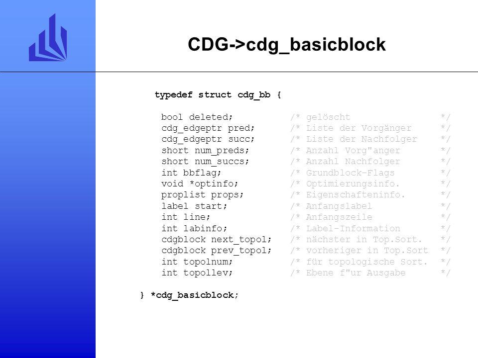CDG typedef struct cdg { proginfo ppi;/* Prozedurnummer*/ cdg_basicblock graph;/* Flußgraph*/ cdg_labhash labtab;/* Label-Hashtabelle*/ label maxlab;/
