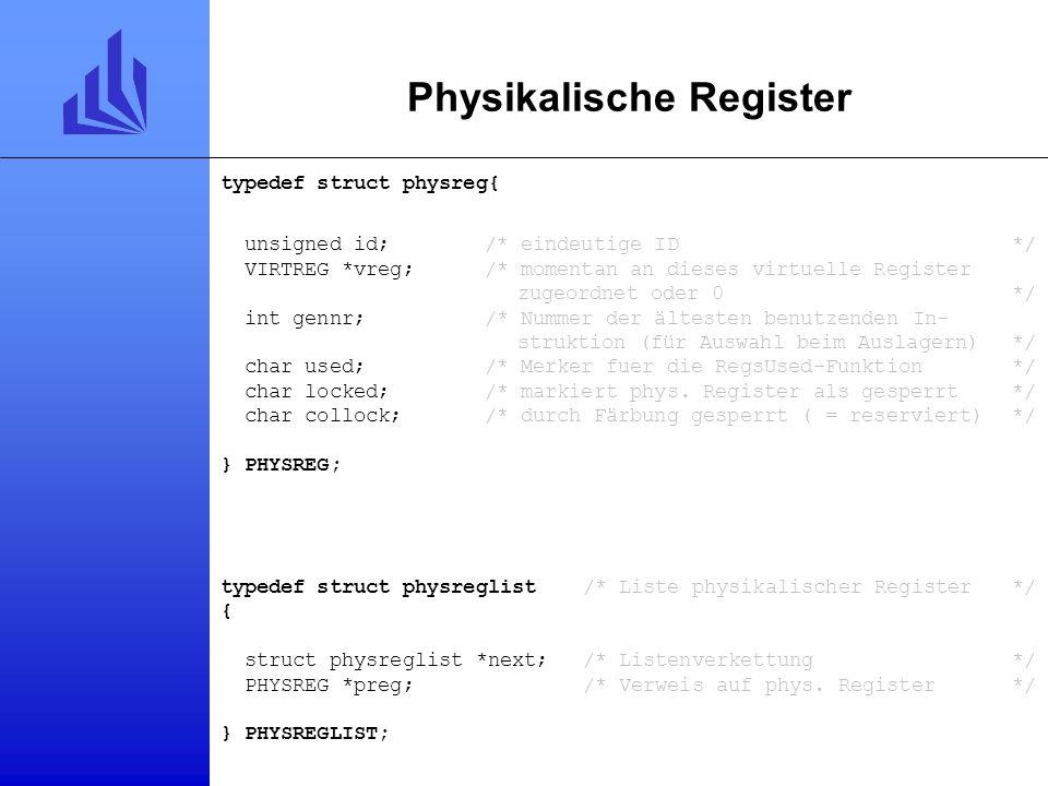 Logische Register typedef struct assignreg /* logisches Register unter dem mehrere physikalische liegen koennen */ { struct assignreg *next; /* Liste
