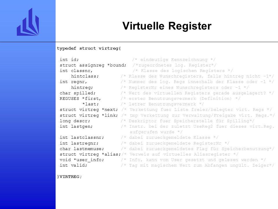 Physikalische Register typedef struct physreg{ unsigned id;/* eindeutige ID */ VIRTREG *vreg;/* momentan an dieses virtuelle Register zugeordnet oder