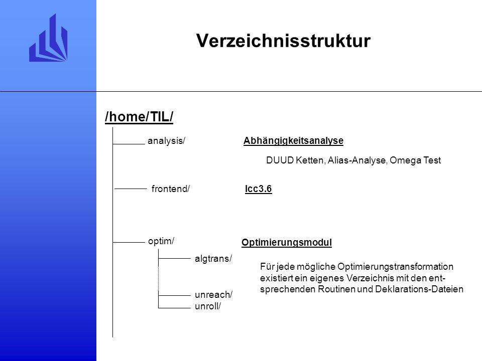 Verzeichnisstruktur Abhängigkeitsanalyse frontend/lcc3.6 /home/TIL/ analysis/ optim/ algtrans/ unreach/ unroll/ Optimierungsmodul Für jede mögliche Optimierungstransformation existiert ein eigenes Verzeichnis mit den ent- sprechenden Routinen und Deklarations-Dateien DUUD Ketten, Alias-Analyse, Omega Test