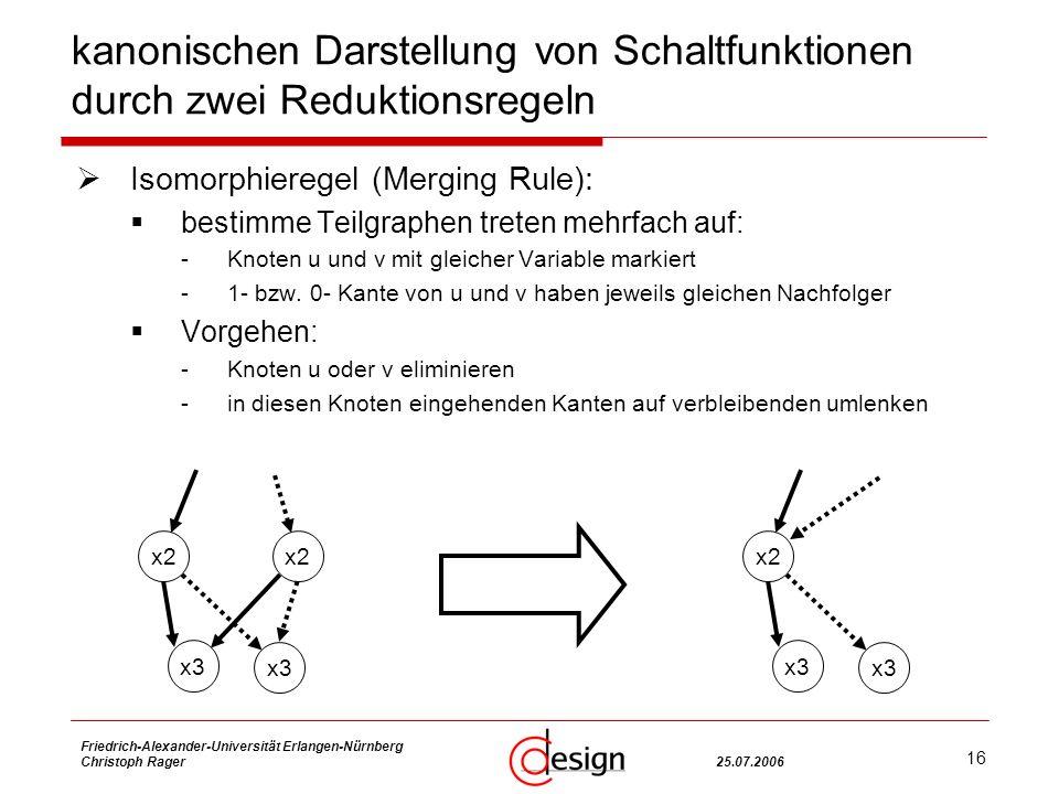 16 Friedrich-Alexander-Universität Erlangen-Nürnberg Christoph Rager25.07.2006 kanonischen Darstellung von Schaltfunktionen durch zwei Reduktionsregeln Isomorphieregel (Merging Rule): bestimme Teilgraphen treten mehrfach auf: -Knoten u und v mit gleicher Variable markiert -1- bzw.