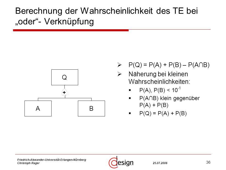 36 Friedrich-Alexander-Universität Erlangen-Nürnberg Christoph Rager25.07.2006 Berechnung der Wahrscheinlichkeit des TE bei oder- Verknüpfung P(Q) = P(A) + P(B) – P(AB) Näherung bei kleinen Wahrscheinlichkeiten: P(A), P(B) < 10 -1 P(AB) klein gegenüber P(A) + P(B) P(Q) = P(A) + P(B) Q AB +