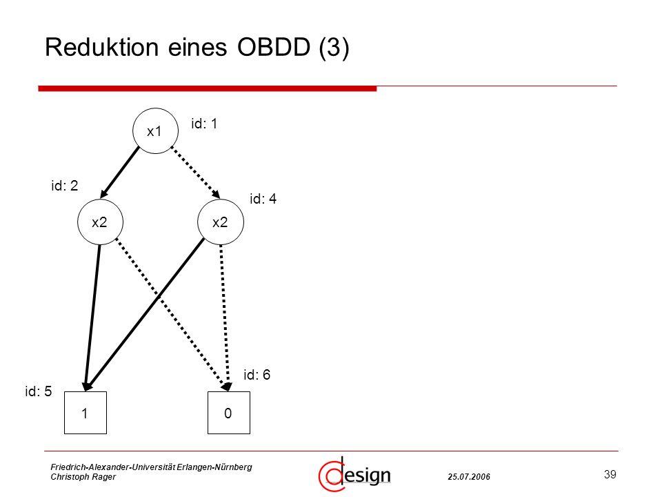 39 Friedrich-Alexander-Universität Erlangen-Nürnberg Christoph Rager25.07.2006 Reduktion eines OBDD (3) x2 x1 x2 10 id: 1 id: 4 id: 2 id: 5 id: 6