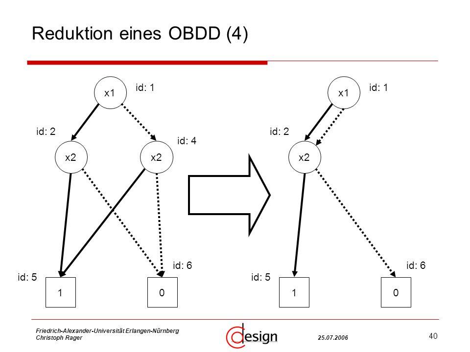 40 Friedrich-Alexander-Universität Erlangen-Nürnberg Christoph Rager25.07.2006 Reduktion eines OBDD (4) x2 x1 x2 10 id: 1 id: 4 id: 2 id: 5 id: 6 x1 x2 10 id: 1 id: 2 id: 5 id: 6