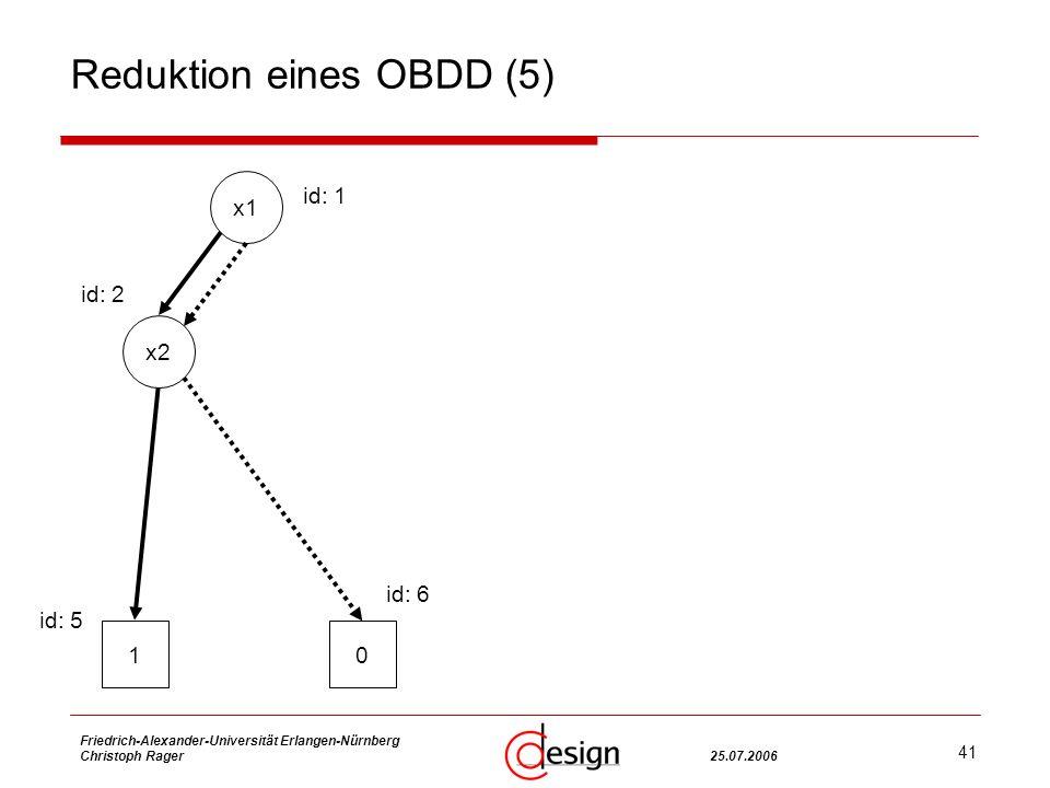 41 Friedrich-Alexander-Universität Erlangen-Nürnberg Christoph Rager25.07.2006 Reduktion eines OBDD (5) x1 x2 10 id: 1 id: 2 id: 5 id: 6