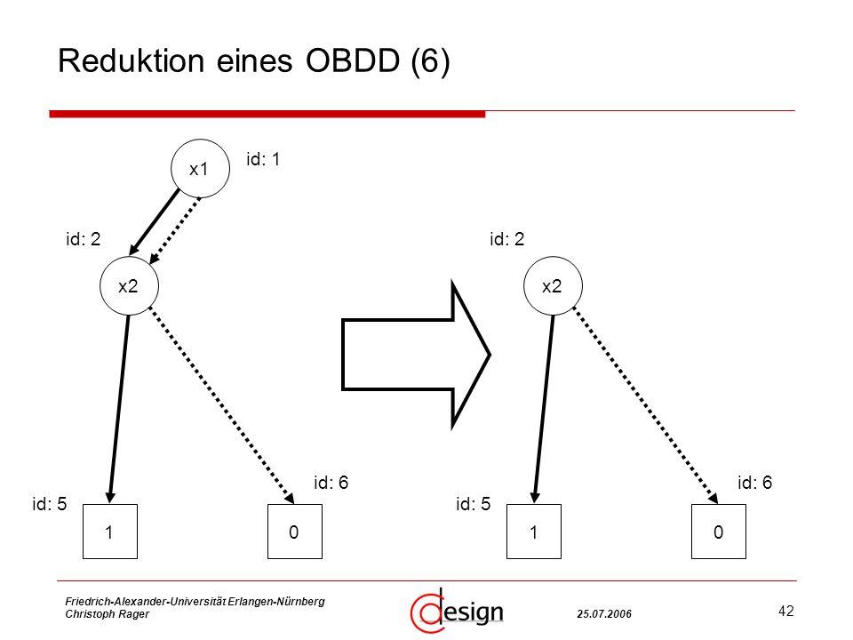 42 Friedrich-Alexander-Universität Erlangen-Nürnberg Christoph Rager25.07.2006 Reduktion eines OBDD (6) x2 10 id: 2 id: 5 id: 6 x1 x2 10 id: 1 id: 2 id: 5 id: 6
