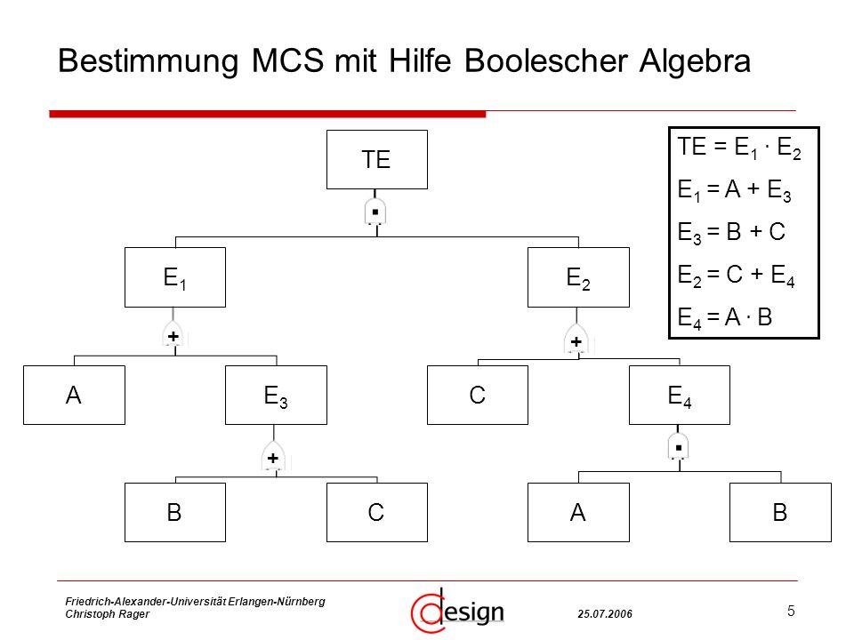 5 Friedrich-Alexander-Universität Erlangen-Nürnberg Christoph Rager25.07.2006 Bestimmung MCS mit Hilfe Boolescher Algebra TE = E 1.