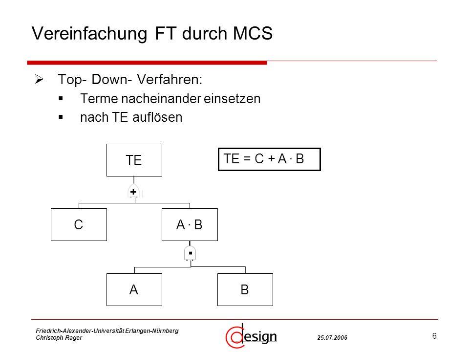 6 Friedrich-Alexander-Universität Erlangen-Nürnberg Christoph Rager25.07.2006 Vereinfachung FT durch MCS Top- Down- Verfahren: Terme nacheinander einsetzen nach TE auflösen TE CA.