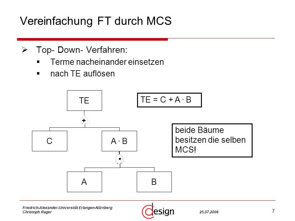 7 Friedrich-Alexander-Universität Erlangen-Nürnberg Christoph Rager25.07.2006 Vereinfachung FT durch MCS Top- Down- Verfahren: Terme nacheinander einsetzen nach TE auflösen TE CA.