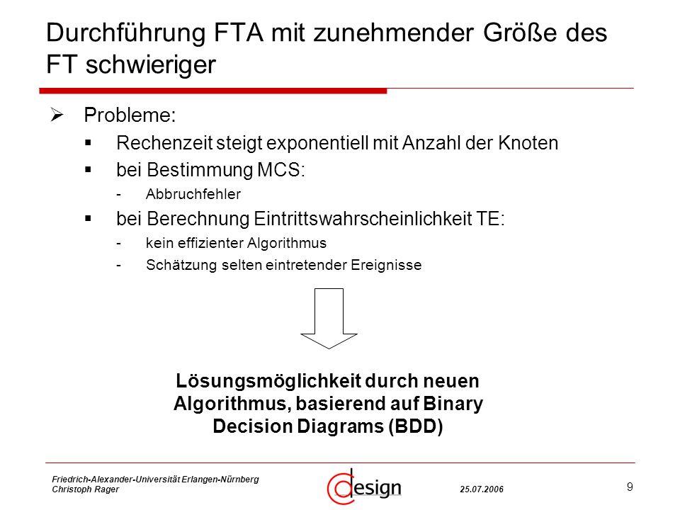 9 Friedrich-Alexander-Universität Erlangen-Nürnberg Christoph Rager25.07.2006 Durchführung FTA mit zunehmender Größe des FT schwieriger Probleme: Rechenzeit steigt exponentiell mit Anzahl der Knoten bei Bestimmung MCS: -Abbruchfehler bei Berechnung Eintrittswahrscheinlichkeit TE: -kein effizienter Algorithmus -Schätzung selten eintretender Ereignisse Lösungsmöglichkeit durch neuen Algorithmus, basierend auf Binary Decision Diagrams (BDD)