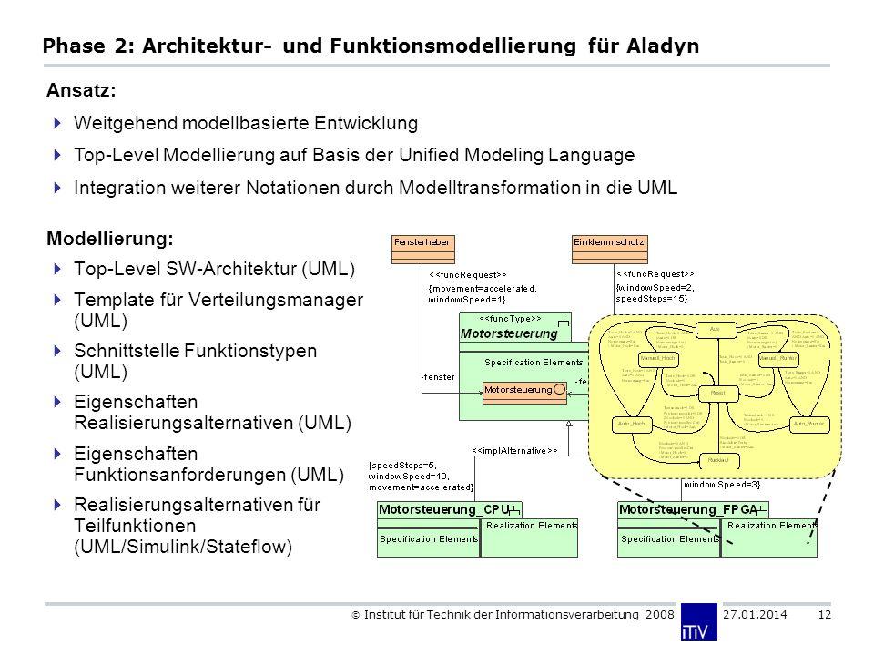 Institut für Technik der Informationsverarbeitung 2008 27.01.2014 12 Phase 2: Architektur- und Funktionsmodellierung für Aladyn Modellierung: Top-Level SW-Architektur (UML) Template für Verteilungsmanager (UML) Schnittstelle Funktionstypen (UML) Eigenschaften Realisierungsalternativen (UML) Eigenschaften Funktionsanforderungen (UML) Realisierungsalternativen für Teilfunktionen (UML/Simulink/Stateflow) Ansatz: Weitgehend modellbasierte Entwicklung Top-Level Modellierung auf Basis der Unified Modeling Language Integration weiterer Notationen durch Modelltransformation in die UML