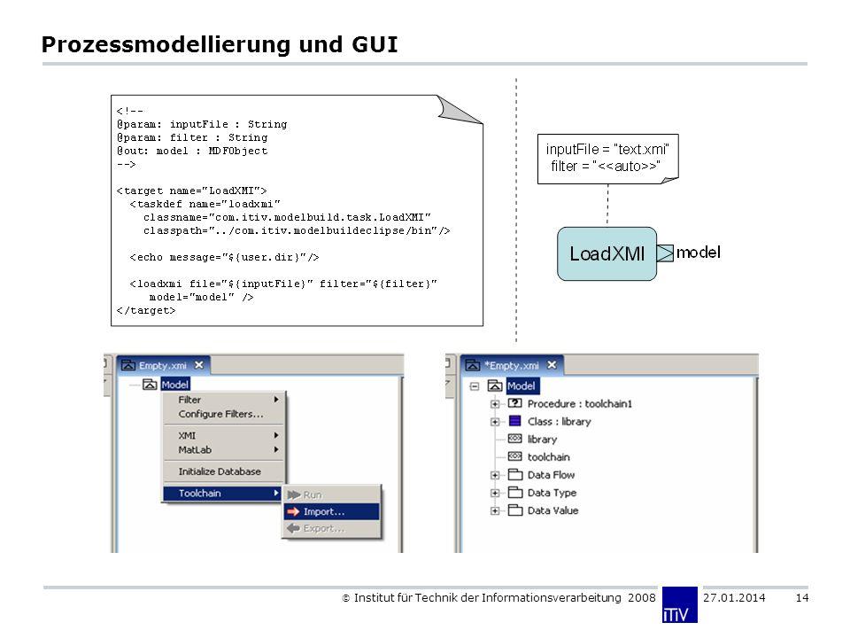 Institut für Technik der Informationsverarbeitung 2008 27.01.2014 14 Prozessmodellierung und GUI