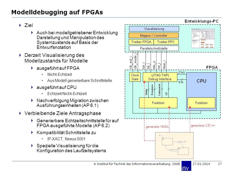 Institut für Technik der Informationsverarbeitung 2008 27.01.2014 17 Modelldebugging auf FPGAs Ziel Auch bei modellgetriebener Entwicklung Darstellung und Manipulation des Systemzustands auf Basis der Entwurfsnotation Derzeit Visualisierung des Modellzustands für Modelle ausgeführt auf FPGA Nicht-Echtzeit Aus Modell generierbare Schnittstelle ausgeführt auf CPU Echtzeit/Nicht-Echtzeit Nachverfolgung Migration zwischen Ausführungseinheiten (AP 6.1) Verbleibende Ziele Antragsphase Generierbare Echtzeitschnittstelle für auf FPGA ausgeführte Modelle (AP 6.2) Kompatibilität Schnittstelle zu IP-XACT, Nexus 5001 Spezielle Visualisierung für die Konfiguration des Laufzeitsystems