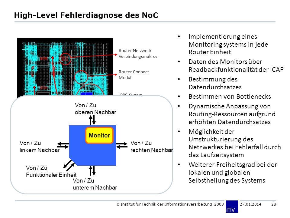 Institut für Technik der Informationsverarbeitung 2008 27.01.2014 28 High-Level Fehlerdiagnose des NoC Router Netzwerk Verbindungsmakros Router Connec