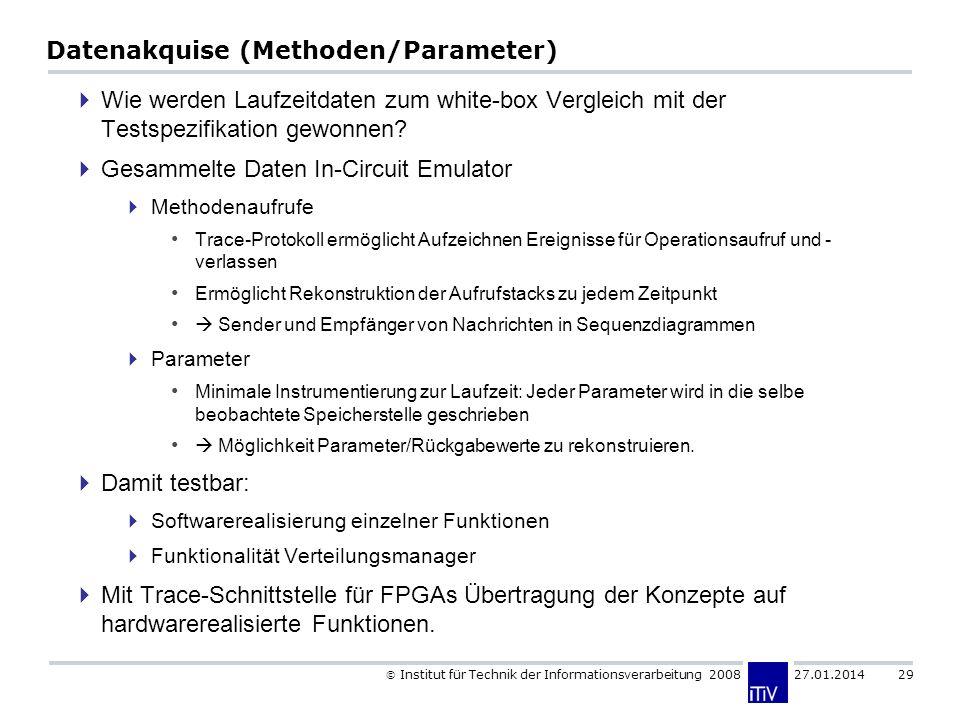 Institut für Technik der Informationsverarbeitung 2008 27.01.2014 29 Datenakquise (Methoden/Parameter) Wie werden Laufzeitdaten zum white-box Vergleic