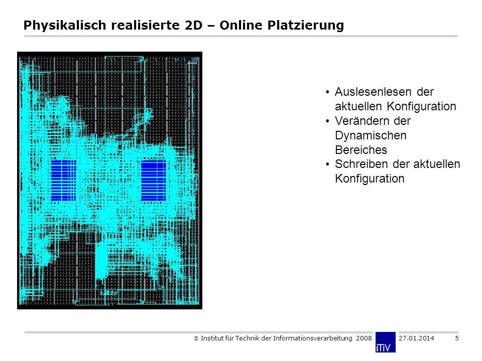 Institut für Technik der Informationsverarbeitung 2008 27.01.2014 5 Physikalisch realisierte 2D – Online Platzierung Auslesenlesen der aktuellen Konfi