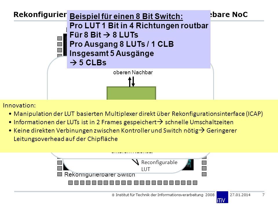 Institut für Technik der Informationsverarbeitung 2008 27.01.2014 7 Rekonfigurierbare Switchstruktur für Online Routebare NoC MUX Glue Logic µC X X X X ICAP X Rekonfigurierbarer Switch Input[1] Input[0] Input[2] Input[3] Reconfigurable LUT Output 0 LUT Slice 0 Input[1] Input[0] Input[2] Input[3] Output 1 LUT Von / Zu Funktionaler Einheit Von / Zu oberen Nachbar Von / Zu rechten Nachbar Von / Zu linkem Nachbar Von / Zu unterem Nachbar Beispiel für einen 8 Bit Switch: Pro LUT 1 Bit in 4 Richtungen routbar Für 8 Bit 8 LUTs Pro Ausgang 8 LUTs / 1 CLB Insgesamt 5 Ausgänge 5 CLBs Innovation: Manipulation der LUT basierten Multiplexer direkt über Rekonfigurationsinterface (ICAP) Informationen der LUTs ist in 2 Frames gespeichert schnelle Umschaltzeiten Keine direkten Verbinungen zwischen Kontroller und Switch nötig Geringerer Leitungsoverhead auf der Chipfläche