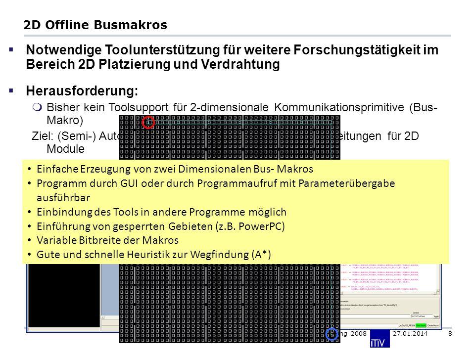 Institut für Technik der Informationsverarbeitung 2008 27.01.2014 8 2D Offline Busmakros Notwendige Toolunterstützung für weitere Forschungstätigkeit