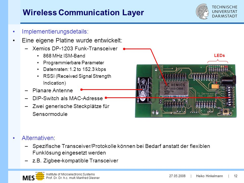 Institute of Microelectronic Systems Prof. Dr. Dr. h.c. mult. Manfred Glesner 27.05.2008 | Heiko Hinkelmann | 12 Wireless Communication Layer Implemen