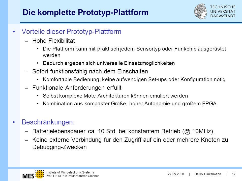 Institute of Microelectronic Systems Prof. Dr. Dr. h.c. mult. Manfred Glesner 27.05.2008 | Heiko Hinkelmann | 17 Die komplette Prototyp-Plattform Vort