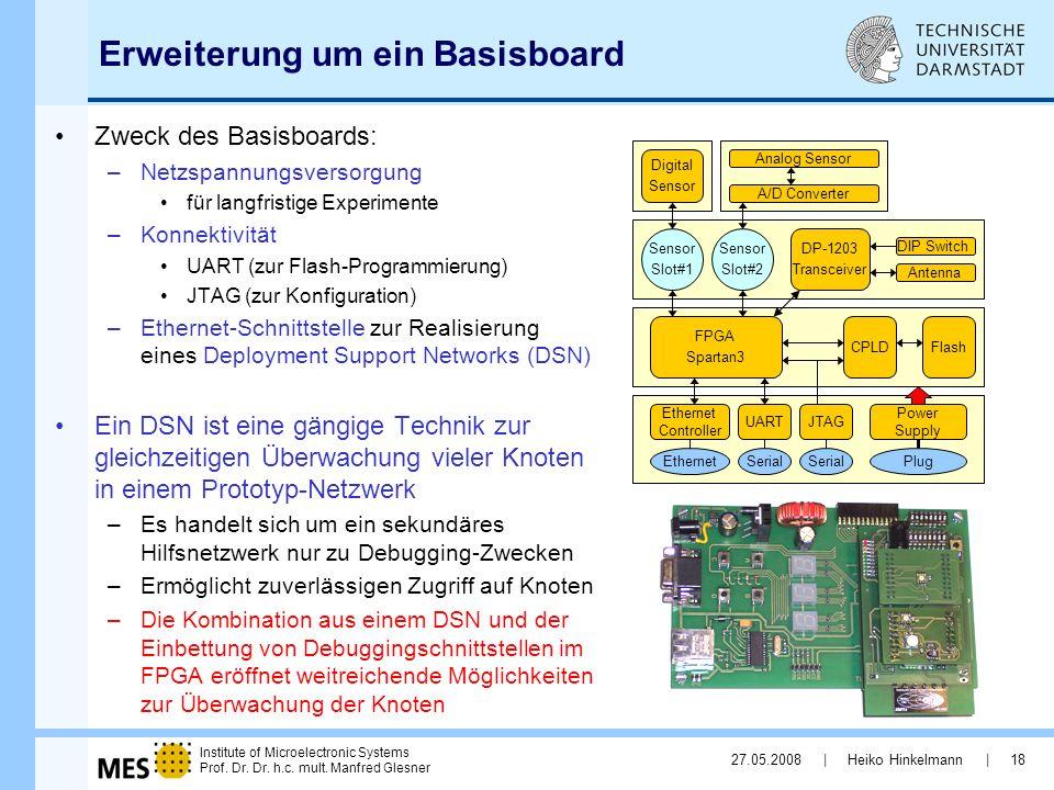 Institute of Microelectronic Systems Prof. Dr. Dr. h.c. mult. Manfred Glesner 27.05.2008 | Heiko Hinkelmann | 18 Erweiterung um ein Basisboard Zweck d