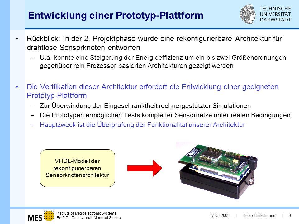 Institute of Microelectronic Systems Prof. Dr. Dr. h.c. mult. Manfred Glesner 27.05.2008 | Heiko Hinkelmann | 3 Entwicklung einer Prototyp-Plattform R