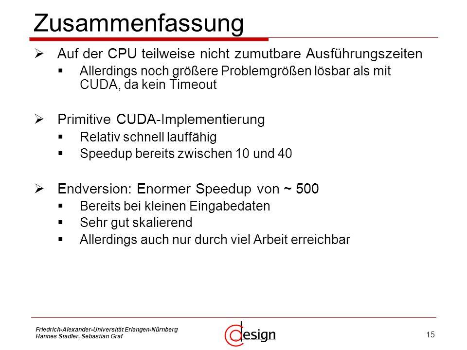 15 Friedrich-Alexander-Universität Erlangen-Nürnberg Hannes Stadler, Sebastian Graf Zusammenfassung Auf der CPU teilweise nicht zumutbare Ausführungsz