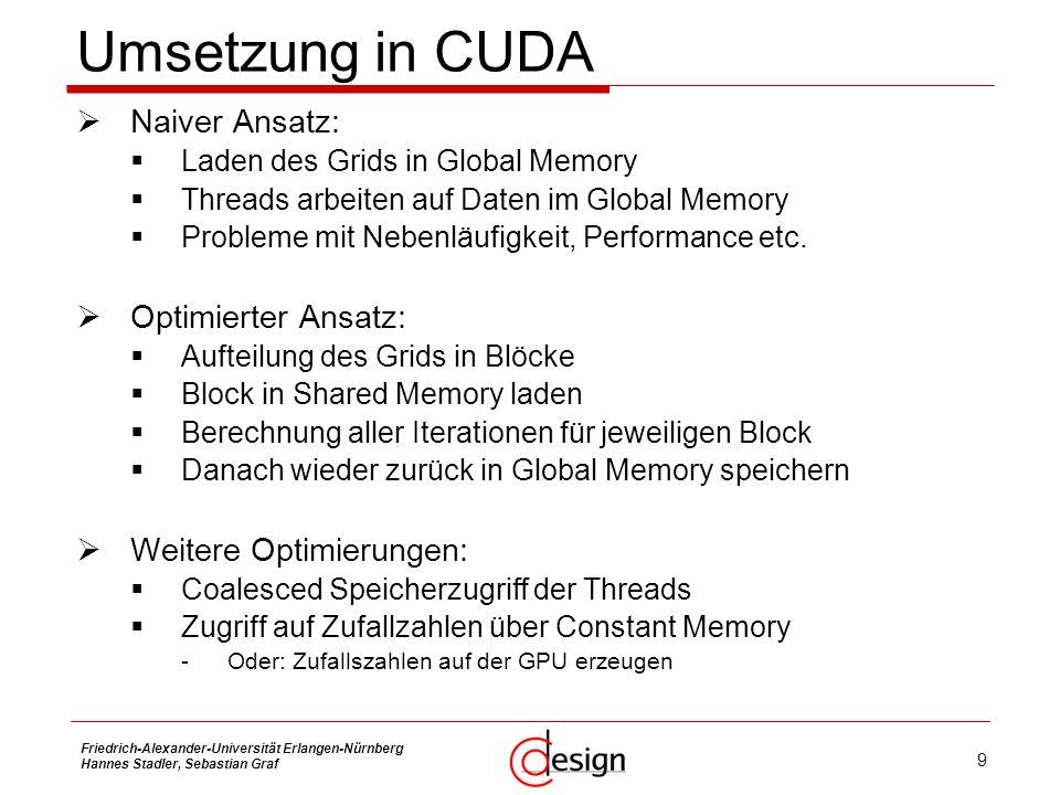 9 Friedrich-Alexander-Universität Erlangen-Nürnberg Hannes Stadler, Sebastian Graf Umsetzung in CUDA Naiver Ansatz: Laden des Grids in Global Memory T