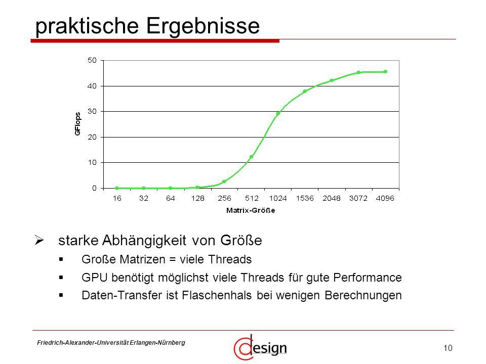 10 Friedrich-Alexander-Universität Erlangen-Nürnberg Frank Hannig praktische Ergebnisse starke Abhängigkeit von Größe Große Matrizen = viele Threads G
