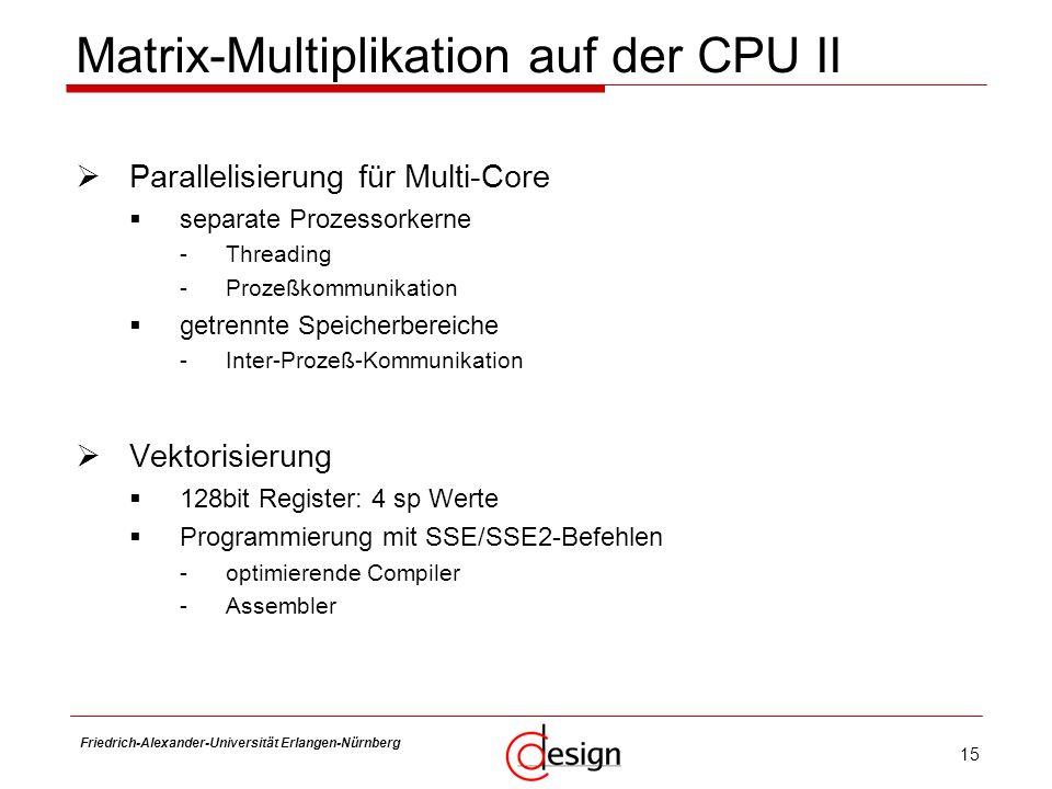 15 Friedrich-Alexander-Universität Erlangen-Nürnberg Frank Hannig Parallelisierung für Multi-Core separate Prozessorkerne -Threading -Prozeßkommunikat