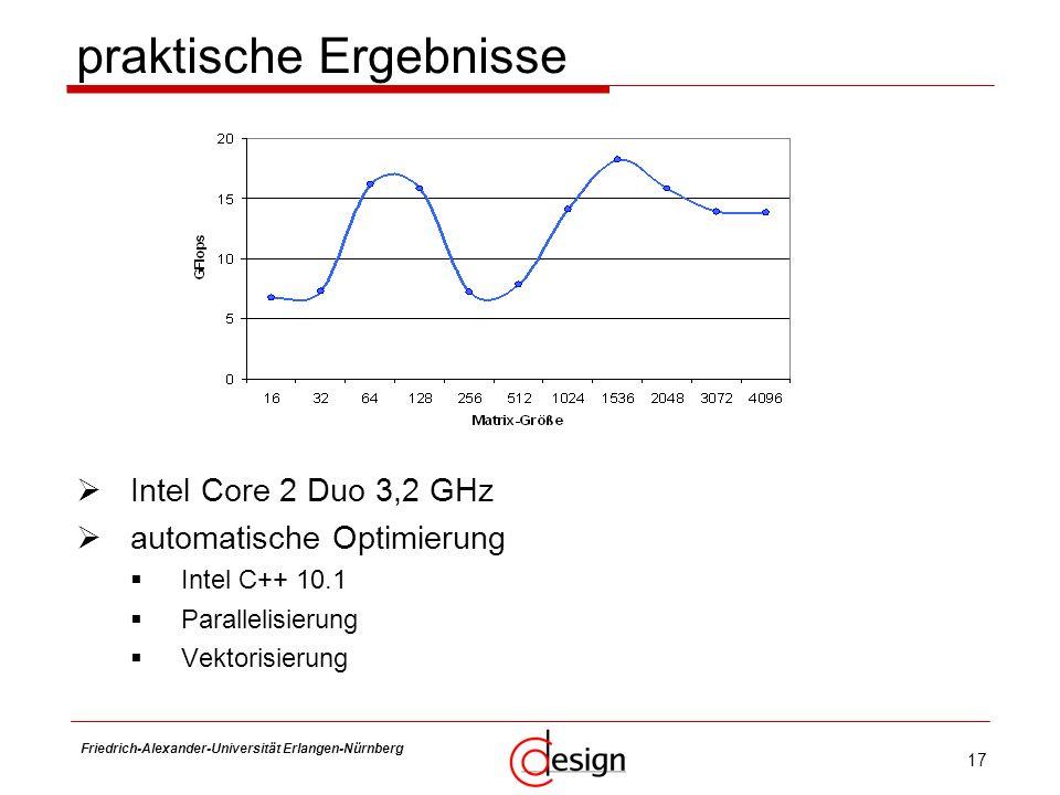 17 Friedrich-Alexander-Universität Erlangen-Nürnberg Frank Hannig Intel Core 2 Duo 3,2 GHz automatische Optimierung Intel C++ 10.1 Parallelisierung Ve