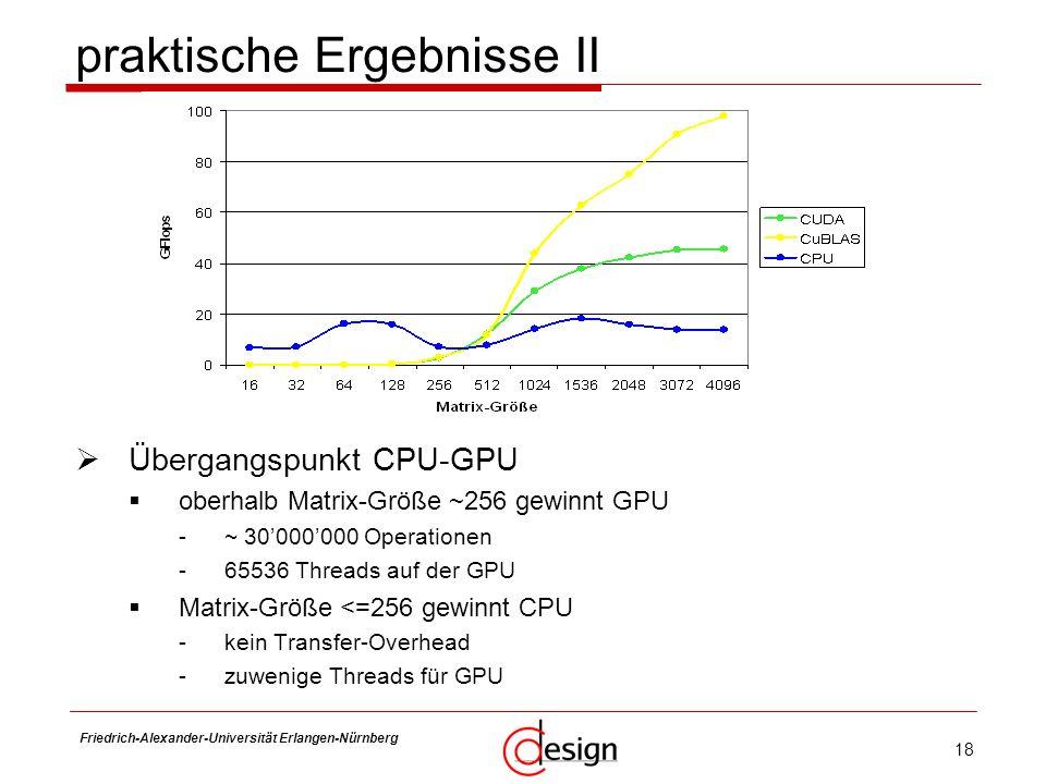 18 Friedrich-Alexander-Universität Erlangen-Nürnberg Frank Hannig Übergangspunkt CPU-GPU oberhalb Matrix-Größe ~256 gewinnt GPU -~ 30000000 Operatione