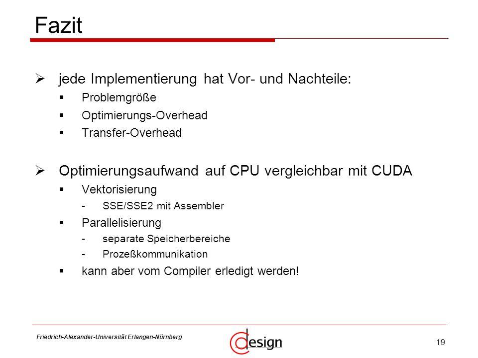 19 Friedrich-Alexander-Universität Erlangen-Nürnberg Frank Hannig jede Implementierung hat Vor- und Nachteile: Problemgröße Optimierungs-Overhead Tran