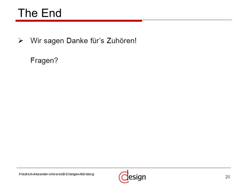 20 Friedrich-Alexander-Universität Erlangen-Nürnberg Frank Hannig Wir sagen Danke fürs Zuhören! Fragen? The End