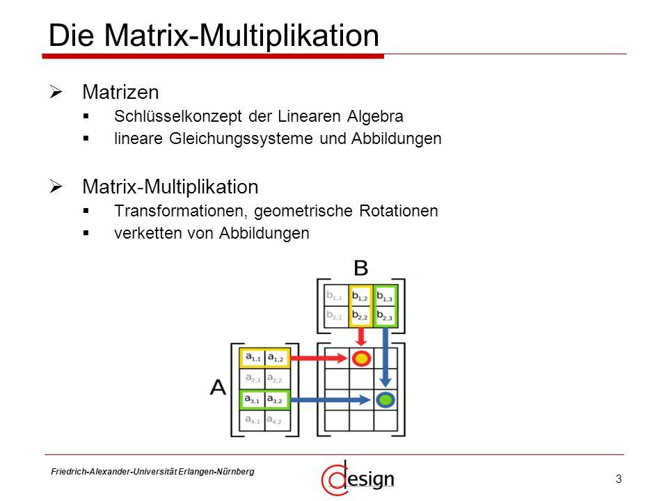 4 Friedrich-Alexander-Universität Erlangen-Nürnberg Frank Hannig Eigenschaften berechnungsintensiv drei verschachtelte Schleifen O(n 3 ) ( n 2.7 für Strassen-Algorithmus ) n…..Größe der Matrix für eine Ergebnis-Zeile Zugriff auf eine ganze Matrix nötig performante Implementierung nicht trivial naive Implementierung: unzusammenhängende Speicherzugriffe Strassen-Algorithmus numerisch instabil blocking in Größe der lokalen Puffer/Caches nötig Vektorisierung & Parallelisierung von Teilen der Schleifen nötig