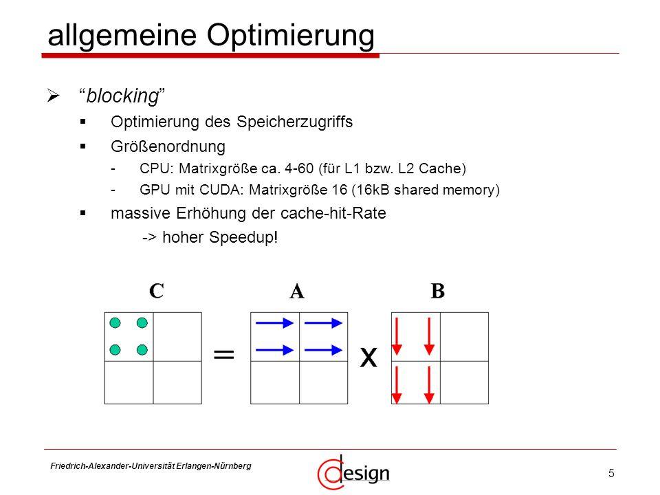 16 Friedrich-Alexander-Universität Erlangen-Nürnberg Frank Hannig hierarchisches Speichermodell 2 bis 3 separate Caches in Größe, Bandbreite und Latenz gestaffelte Optimierung des Speicherzugriffes gestaffelte Schleifen: blocking Schleifengrößen jeweils in Größenordnung der Caches Matrix-Multiplikation auf der CPU III