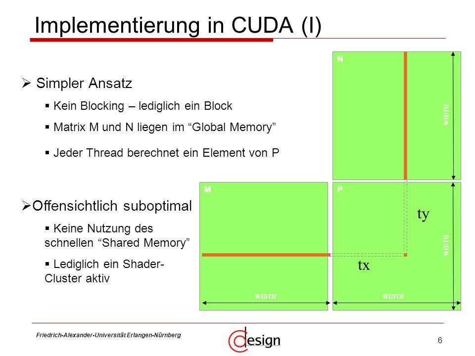 6 Friedrich-Alexander-Universität Erlangen-Nürnberg Frank Hannig Implementierung in CUDA (I) M N P WIDTH ty tx Simpler Ansatz Kein Blocking – lediglic
