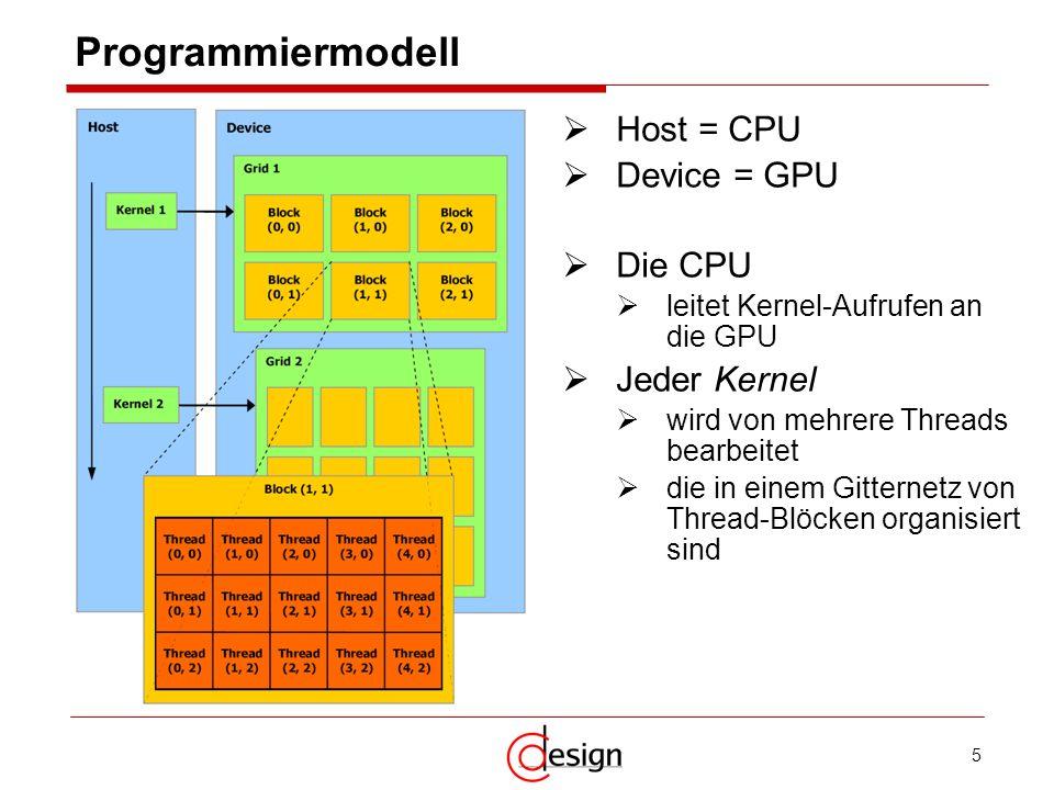 5 Host = CPU Device = GPU Die CPU leitet Kernel-Aufrufen an die GPU Jeder Kernel wird von mehrere Threads bearbeitet die in einem Gitternetz von Threa