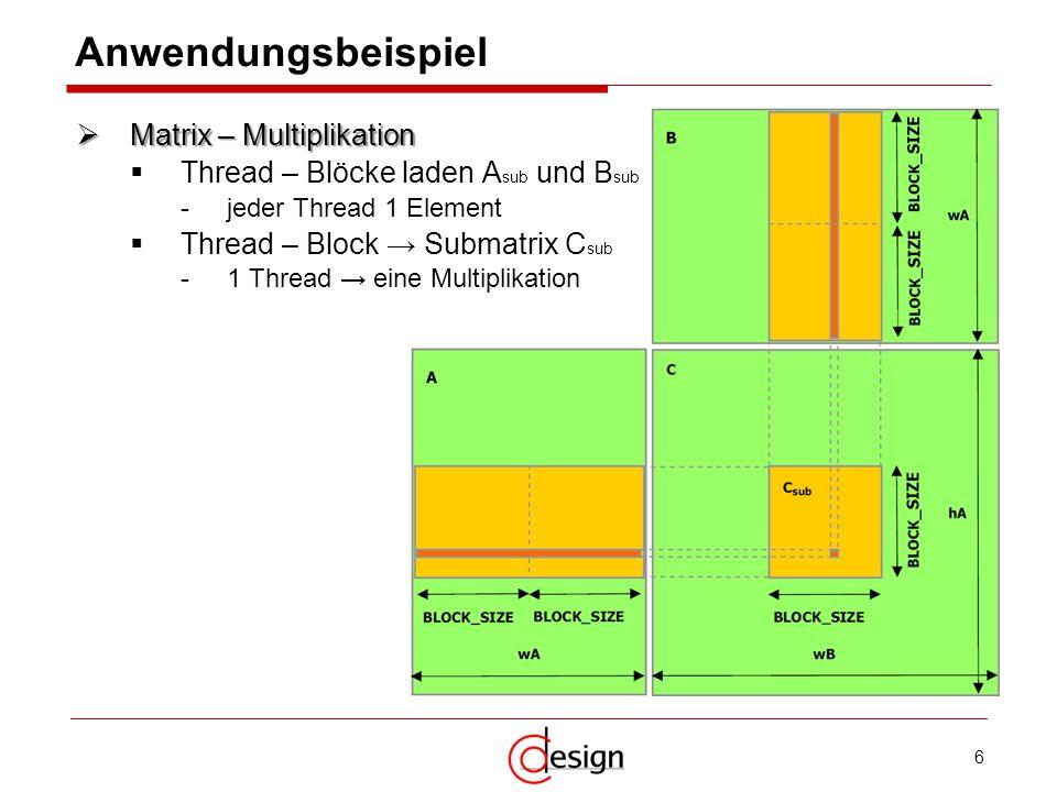 6 Anwendungsbeispiel Matrix – Multiplikation Matrix – Multiplikation Thread – Blöcke laden A sub und B sub -jeder Thread 1 Element Thread – Block Subm