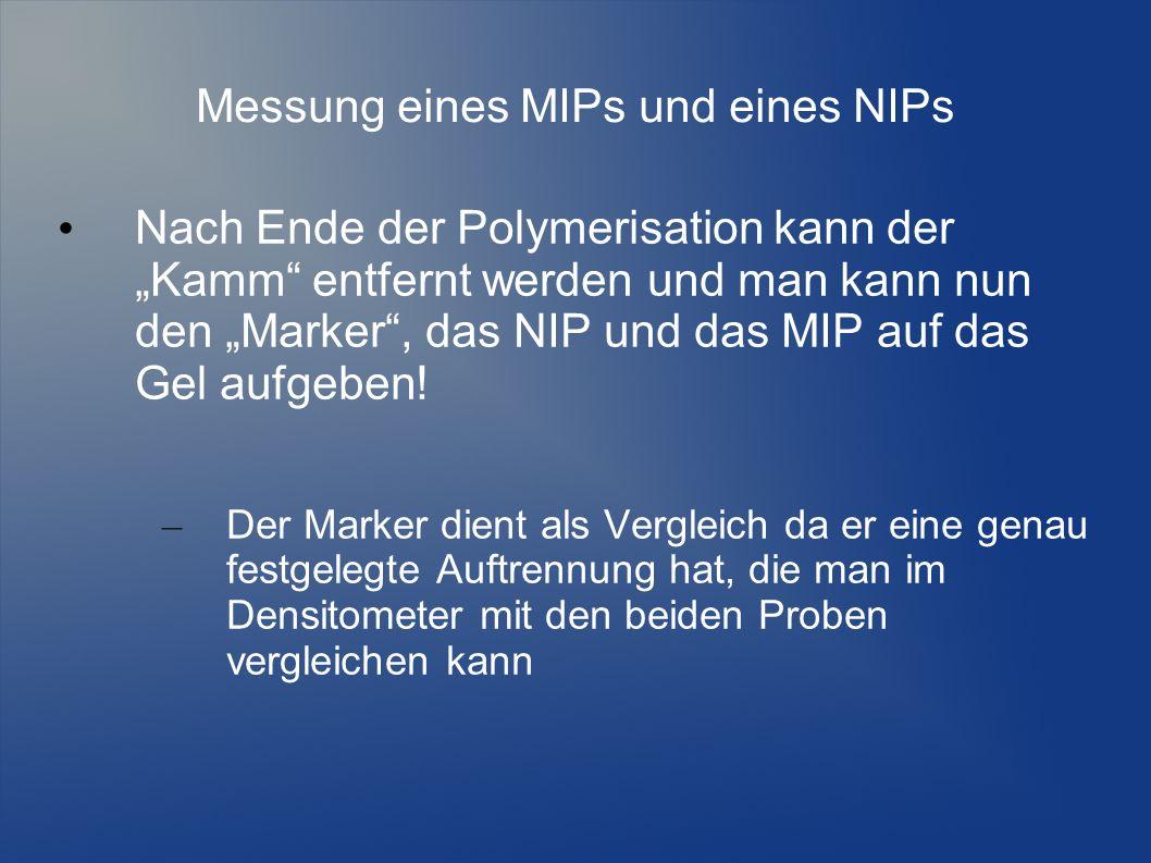 Messung eines MIPs und eines NIPs Nach Ende der Polymerisation kann der Kamm entfernt werden und man kann nun den Marker, das NIP und das MIP auf das