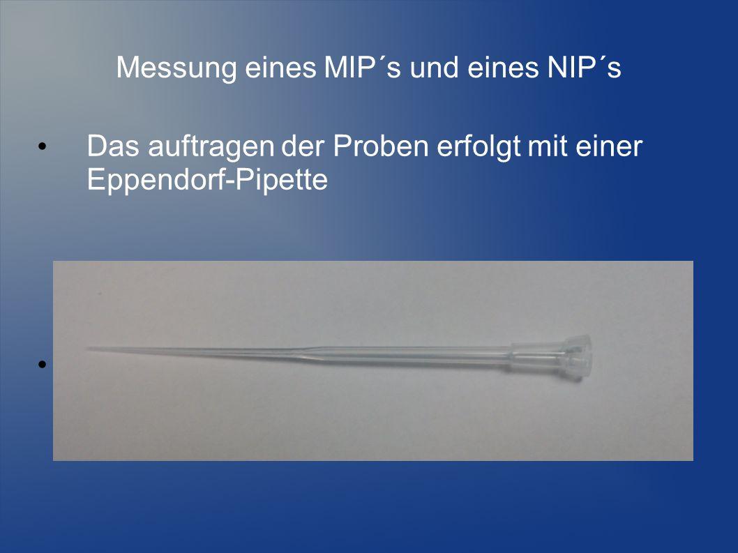 Messung eines MIP´s und eines NIP´s Das auftragen der Proben erfolgt mit einer Eppendorf-Pipette
