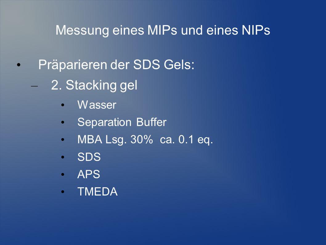 Messung eines MIPs und eines NIPs Präparieren der SDS Gels: – 2. Stacking gel Wasser Separation Buffer MBA Lsg. 30% ca. 0.1 eq. SDS APS TMEDA