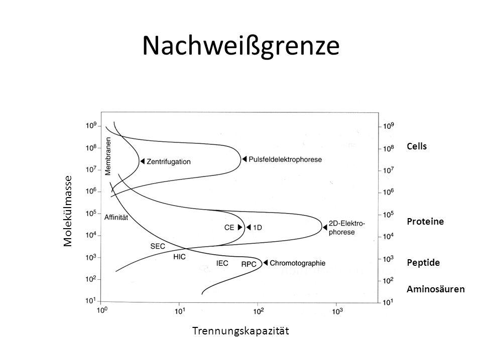 Nachweißgrenze Molekülmasse Trennungskapazität Cells Proteine Peptide Aminosäuren