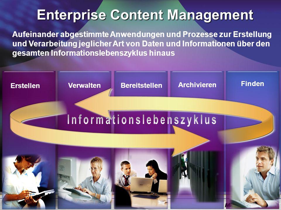 7 Enterprise Content Management Verwalten Archivieren Erstellen Bereitstellen Finden Aufeinander abgestimmte Anwendungen und Prozesse zur Erstellung und Verarbeitung jeglicher Art von Daten und Informationen über den gesamten Informationslebenszyklus hinaus