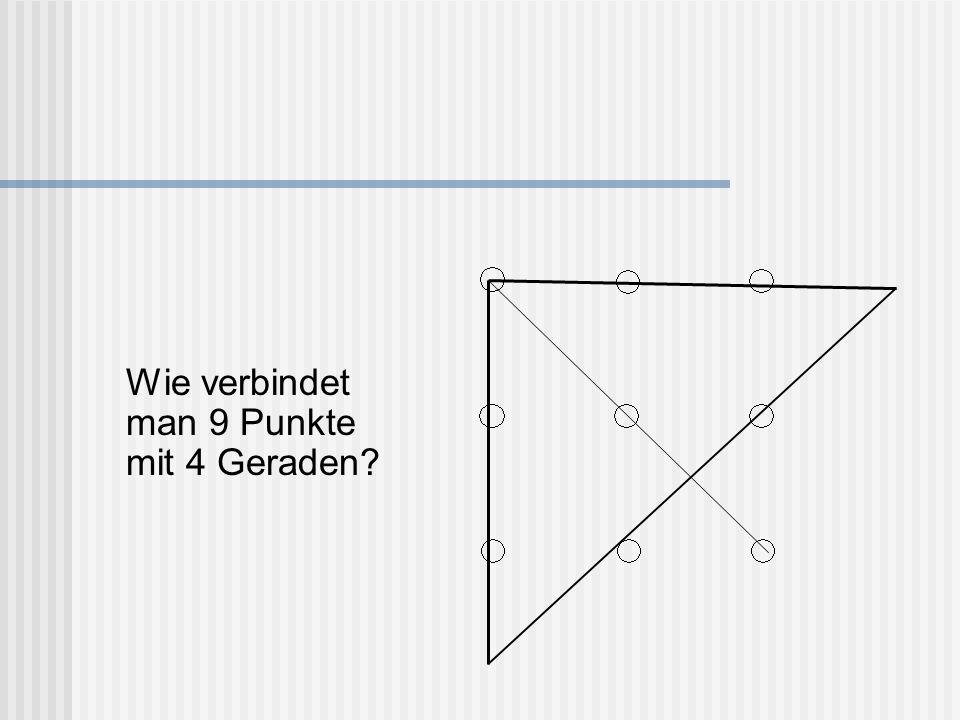 Wie verbindet man 9 Punkte mit 4 Geraden?