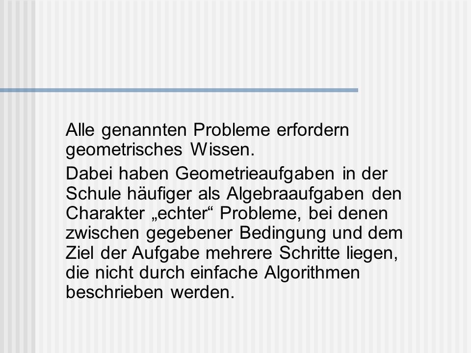 Alle genannten Probleme erfordern geometrisches Wissen. Dabei haben Geometrieaufgaben in der Schule häufiger als Algebraaufgaben den Charakter echter
