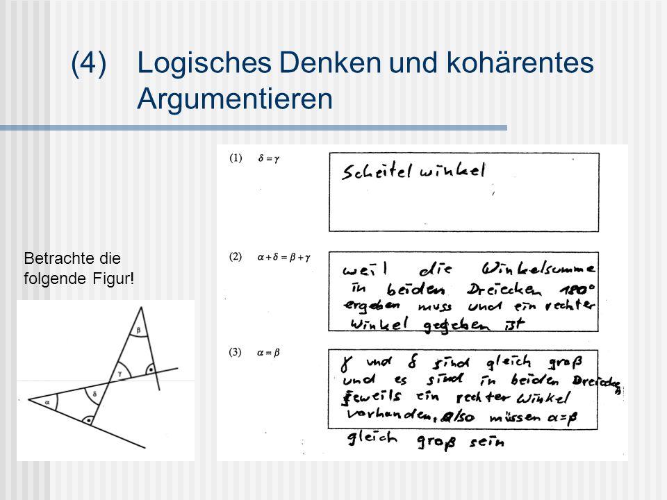 (4)Logisches Denken und kohärentes Argumentieren Betrachte die folgende Figur!